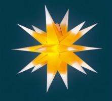 org. Annaberger Faltstern No. 5, 58 cm Ø, weiss mit gelbem Kern