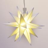 LED-STERN, 12cm Durchmesser, weiss für Innen und Außen mit Kabel u. Beleuchtung