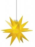 LED-STERN, 12cm Durchmesser, gelb für Innen und Außen mit Kabel u. Beleuchtung
