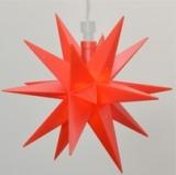 LED-STERN, 12cm Durchmesser, rot für Innen und Außen mit Kabel u. Beleuchtung