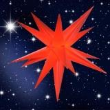 LED Stern, 60cm Durchmesser, rot, für Innen und Außen mit Kabel u. Beleuchtung