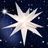 LED Stern, 60cm Durchmesser, weiss, für Innen und Außen mit Kabel u. Beleuchtung